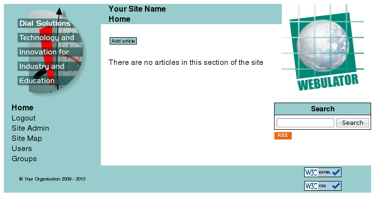 "A main section page showing the ""Add article"" button"