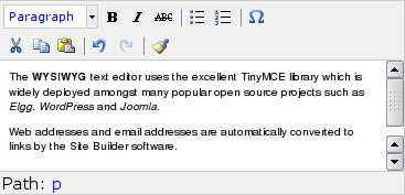 The TinyMCE WYSIWYG editor
