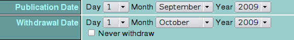 Setting publication and withdrawal dates